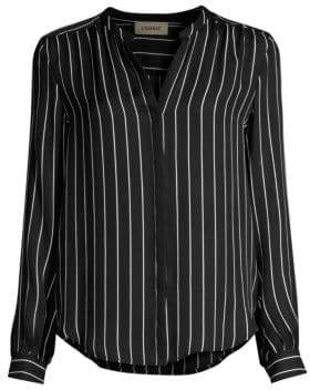 L'Agence Women's Bardot Stripe Silk Shirt - Black Ivory - Size Small
