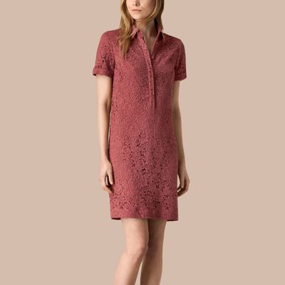 Burberry  Burberry Floral Italian Lace Shirt Dress