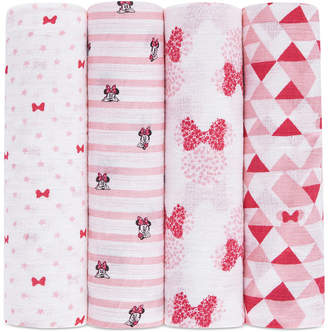 Aden Anais Aden By Aden + Anais aden by aden + anais 4-Pk. Minnie Mouse Cotton Swaddle Blankets, Baby Girls