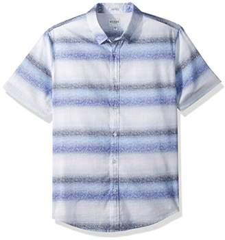 GUESS Men's Short Sleeve Sunset Stripe Print Shirt
