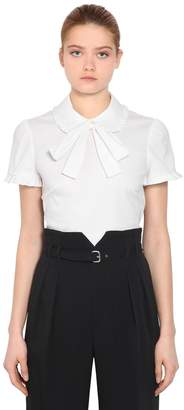 RED Valentino Cotton Poplin Short Sleeve Shirt W/ Bow