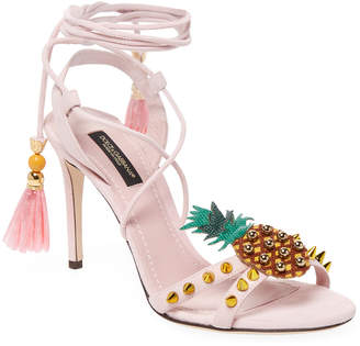 Dolce & Gabbana Pineapple-Embellished Leather Pump