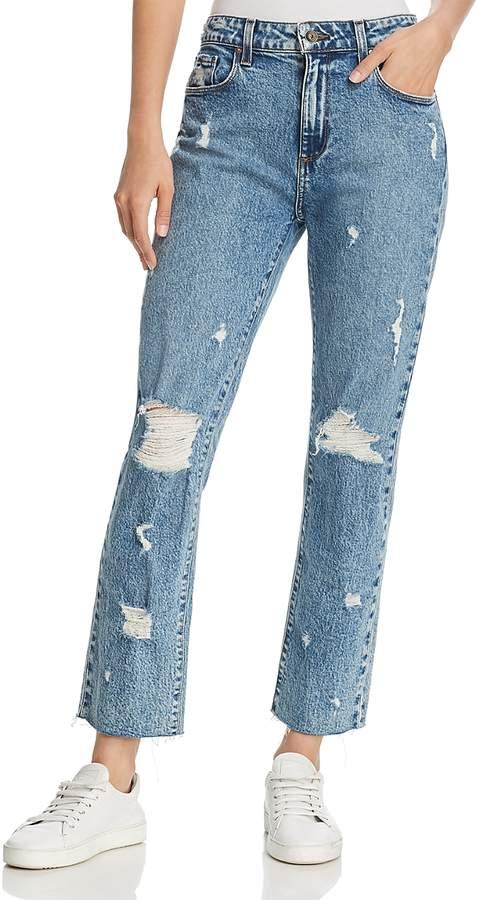 Noella Straight-Leg Frayed-Hem Jeans in Westlyn Destructed