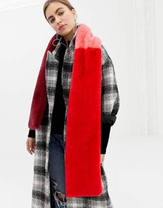 B.young fur panelled scarf