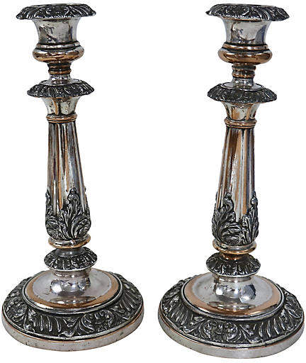 19th-C. Silver-Plate Candleholders