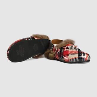 Gucci Children's Horsebit check slipper