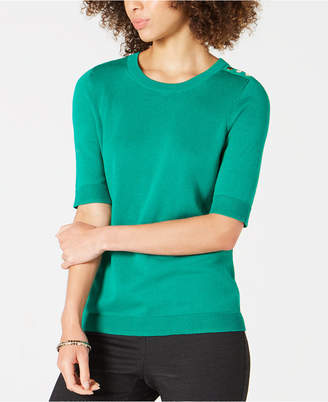 Charter Club Petite Elbow-Sleeve Sweater