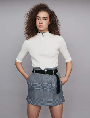 Maje Short belted plaid skirt