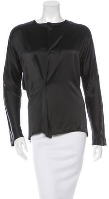 Yohji Yamamoto Silk Long Sleeve Top $75 thestylecure.com
