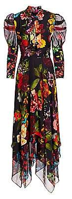 Alice + Olivia Women's Karen Floral Puff Sleeve Handkerchief Midi Dress