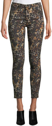 AG Jeans The Farrah High-Rise Animal-Print Camo Skinny Jeans