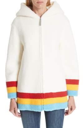 Burberry Craven Stripe Detail Fleece Coat