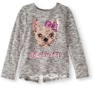 Miss Chievous Girls' 7-16 Graphic Sequin Long Sleeve Top with Split Back Detail