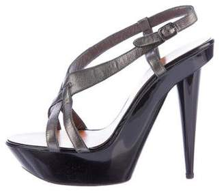 Lanvin Metallic Leather Platform Sandals
