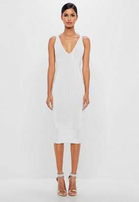 Missguided White Bandage Scoop Back Midi Dress