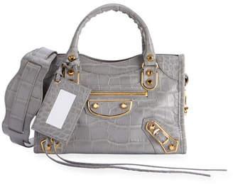Balenciaga Metallic Edge Mini City AJ Croc-Embossed Bag