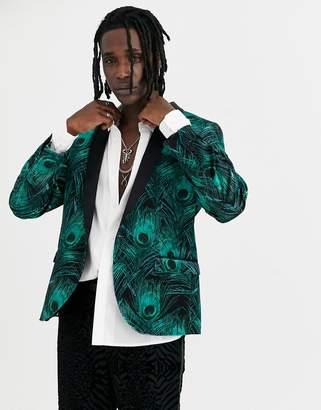 Twisted Tailor super skinny velvet blazer with peacock print in green