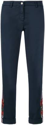 Cambio side-striped cropped trousers