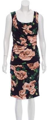 Dolce & Gabbana Rose Print Draped Dress