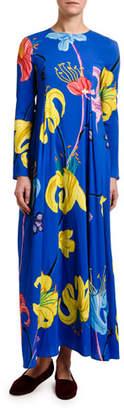 Double J Long-Sleeve Floral Print Trapeze Dress