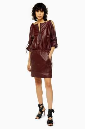 Topshop Leather Zip Through Shirt Dress