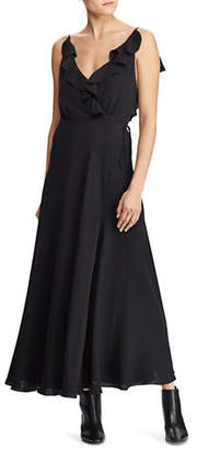 Polo Ralph Lauren Ruffled V-Back Silk Maxi Dress