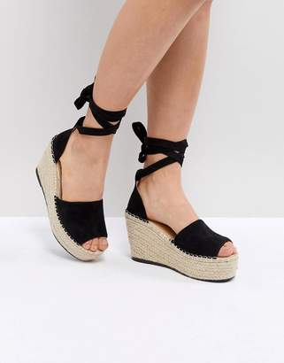 Raid Brigid Black Espadrille Wedge Sandals
