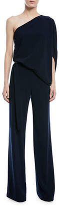 Halston One-Shoulder Draped Stretch Crepe Jumpsuit
