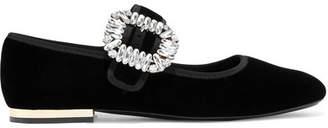 Roger Vivier Strass Crystal-embellished Velvet Ballet Flats - Black