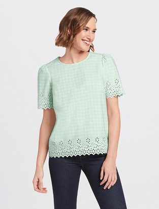 Draper James Embroidered Gingham Top