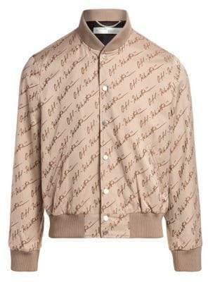 Off-White Skinny Jacquard Varsity Jacket