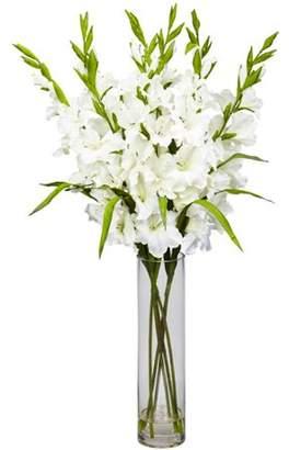 Nearly Natural Large Gladiola with Cylinder Vase Silk Arrangement