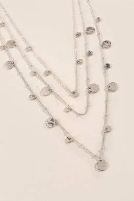 francesca's Brenda Worn Metal Coin Necklace - Silver
