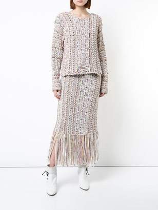 ADAM by Adam Lippes Hand-Knit Tweed Midi Skirt With Fringe