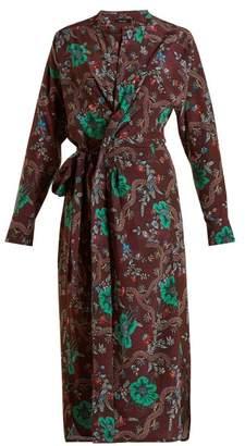 Isabel Marant Calypso Silk Wrap Dress - Womens - Burgundy Multi
