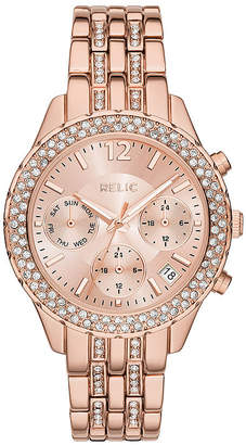JCPenney RELIC Relic Merrit Womens Crystal-Accent Rose-Tone Bracelet Watch ZR15787
