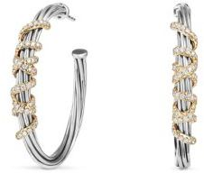 David Yurman Helena Large Hoop Earrings with Diamonds and 18K Gold $2,300 thestylecure.com