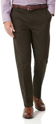 Charles Tyrwhitt Brown Slim Fit Flat Front Non-Iron Cotton Chino Pants Size W32 L32