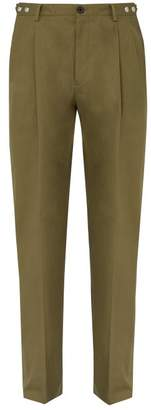 Lanvin Cotton Twill Wide Leg Trousers - Mens - Khaki