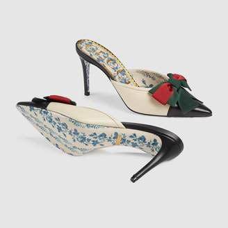 Gucci Leather mid-heel slide with Web bow
