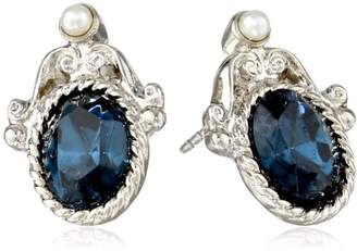 """1928 Jewelry""""Essentials"""" Silver Tone and Montana Blue Stud Earrings"""