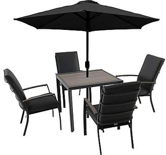 LG Electronics Outdoor Milan 4 Seater Garden Dining Table / Chairs Set with Parasol