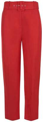 Mint Velvet Red Buckled Peg Leg Trouser
