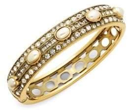 Heidi Daus Faux Pearl and Swarovski Crystal Oval Bangle Bracelet
