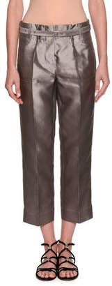 Giorgio Armani Silk Shantung Wide-Leg Cropped Pants