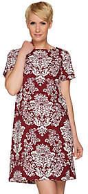 C. Wonder Stretch Crepe Short Slv Shift Dressw/ Bi-Clr Print