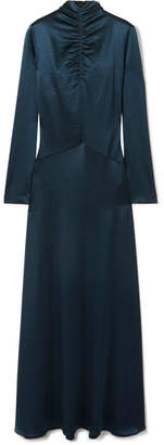 Cédric Charlier Ruched Satin Gown - Navy