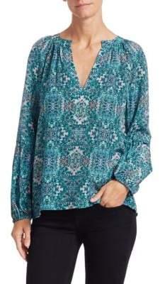 Nanette Lepore Silk Print Hideaway Blouse