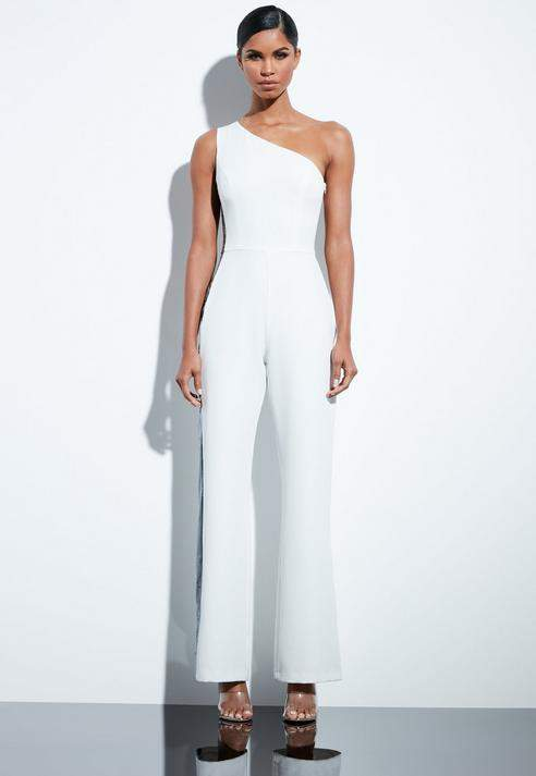 White Sequin Tailored One Shoulder Jumpsuit, Ivory