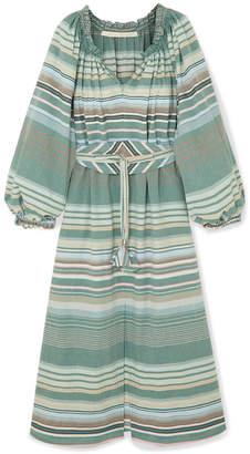 Bardot Anna Mason Belted Striped Cotton Dress - Green